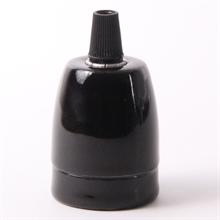 Svart PorslinLamphållare E27