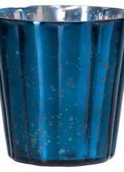 Värmeljusglas L Wave Shiny Blå